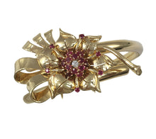 Load image into Gallery viewer, Gold Ruby Diamond Flower Brooch