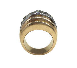 French 1940s Diamond Gold Platinum Ridged Dome Ring
