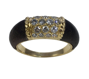 French Gold Wood Diamond Ring