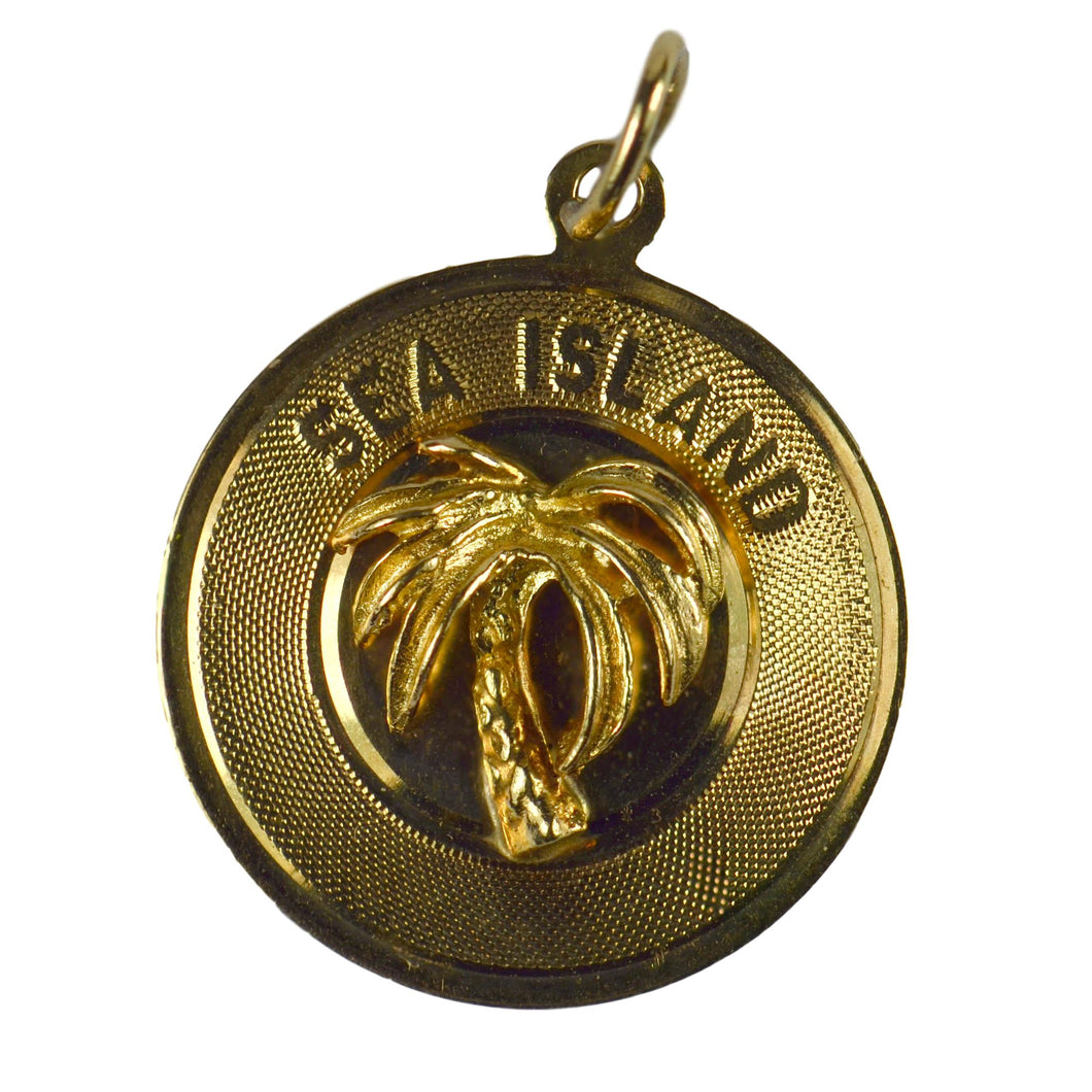 Yellow Gold Sea Island Palm Tree Charm Pendant