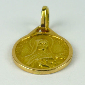 French 18K Yellow Gold St Therese Medal Charm Pendant