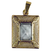 Load image into Gallery viewer, French 18K Yellow Gold Blue Synthetic Spinel Filigree Wire Frame Pendant