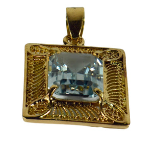 French 18K Yellow Gold Blue Synthetic Spinel Filigree Wire Frame Pendant