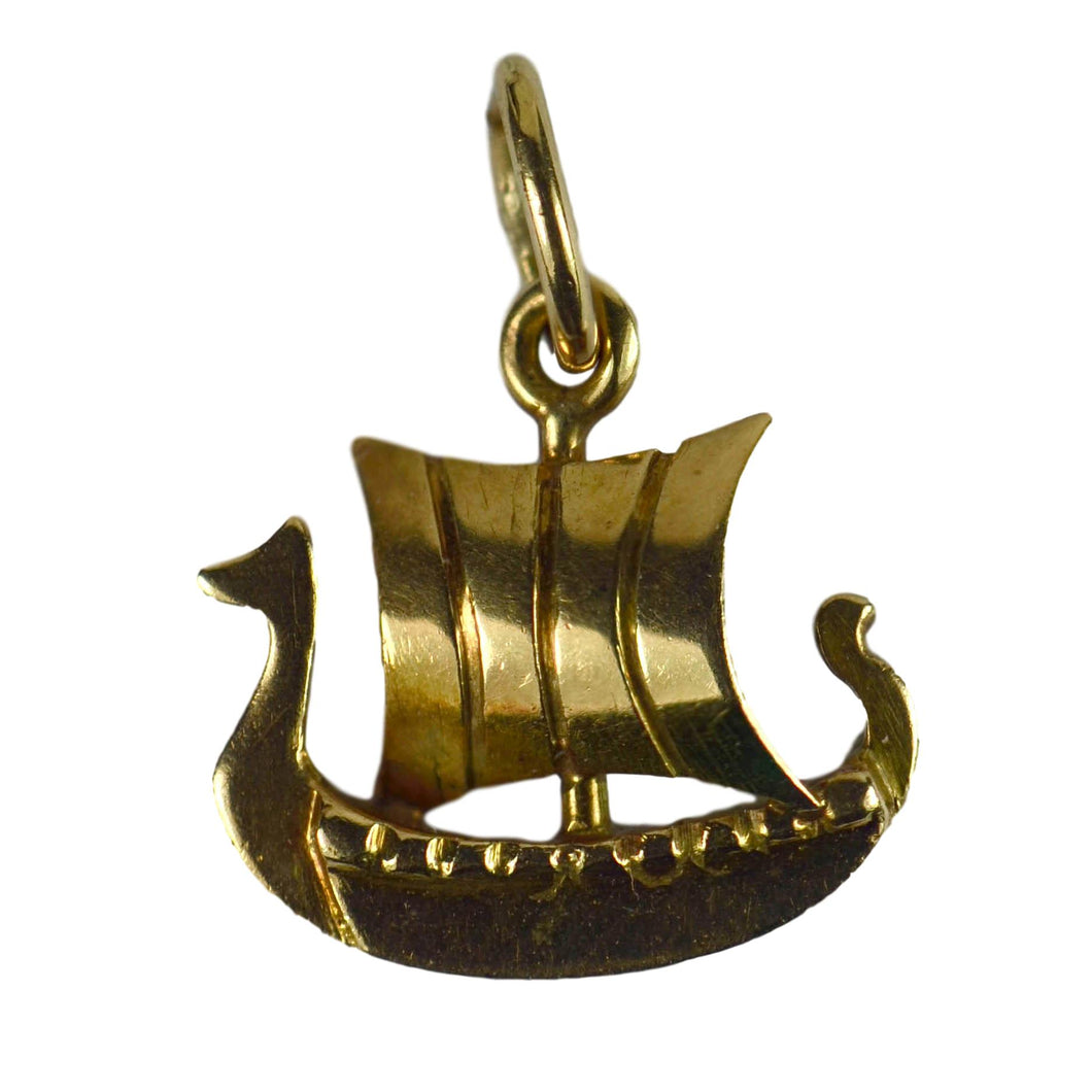 Danish Electroplated Gold Viking Ship Charm Pendant