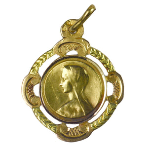 French 18K Yellow Rose Gold Virgin Mary Frame Medal Charm Pendant
