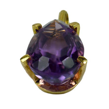 Load image into Gallery viewer, Vintage 18K Yellow Gold Purple Amethyst Pear Shape Pendant