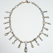 Load image into Gallery viewer, 1820 Georgian Blue Aquamarine White Pearl Silver Fringe Riviere Pendant Necklace
