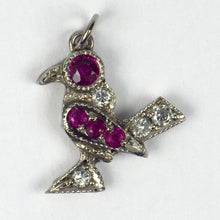 Load image into Gallery viewer, Platinum White Diamond Red Ruby Bird Charm Pendant