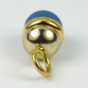 18K Yellow White Gold Blue Agate Sphere Charm Pendant
