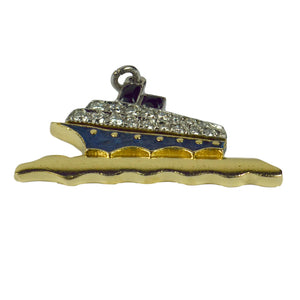 Art Deco Platinum Yellow Gold Enamel Diamond Ocean Liner Charm Pendant