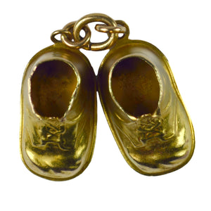 14kt Yellow Gold Baby Boots Shoes Charm Pendant