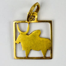 Load image into Gallery viewer, Buffalo 18K Yellow Gold Square Charm Pendant