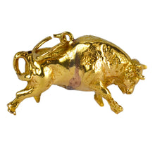 Load image into Gallery viewer, 18K Yellow Gold Bull Charm Pendant
