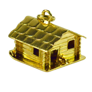 18K Yellow Gold Mechanical House Cooking Pot Charm Pendant