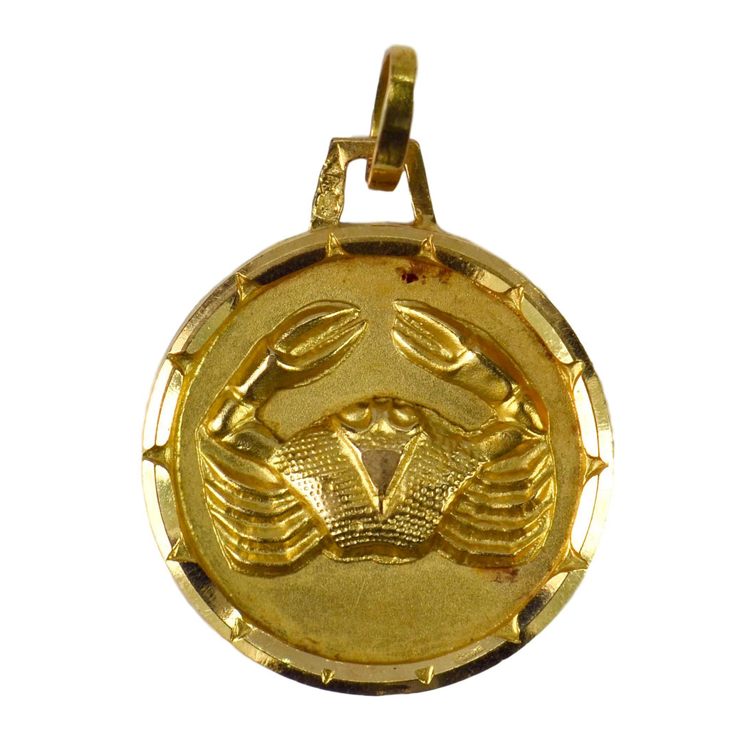 French 18K Yellow Gold Zodiac Cancer Charm Pendant