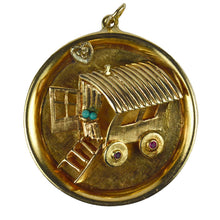 Load image into Gallery viewer, Large Yellow Gold Turquoise Ruby Diamond Love Heart Gypsy Caravan Charm Pendant