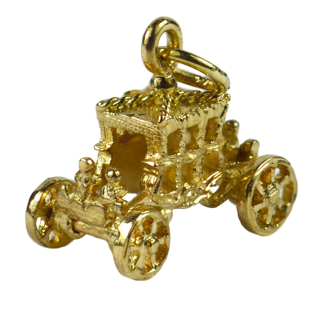 9K Yellow Gold Mechanical Carriage Charm Pendant