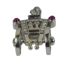 Load image into Gallery viewer, Art Deco Platinum Ruby Sapphire Diamond Just Married Carriage Charm Pendant
