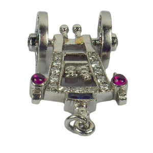 Art Deco Platinum Ruby Sapphire Diamond Just Married Carriage Charm Pendant