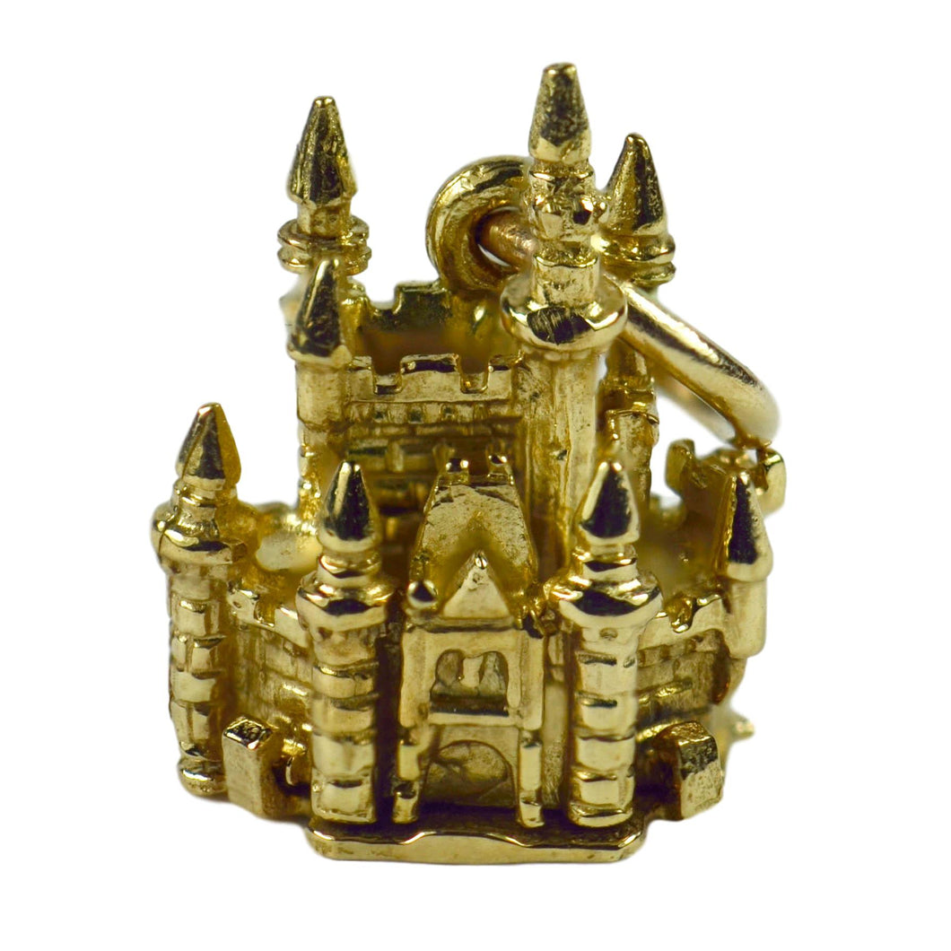9K Yellow Gold Mechanical Castle with Mouse Charm Pendant