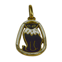 Load image into Gallery viewer, French 18kt Yellow Gold Black White Enamel Cat Charm Pendant