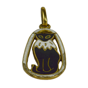 French 18kt Yellow Gold Black White Enamel Cat Charm Pendant