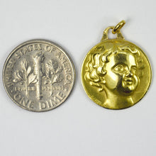 Load image into Gallery viewer, French Cherub Head Medal 18K Yellow Gold Charm Pendant