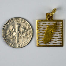 Load image into Gallery viewer, Island Map 18K Yellow Gold Square Charm Pendant