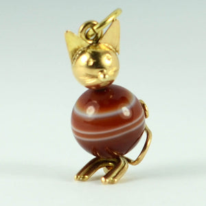 18K Yellow Gold Banded Agate Cat Charm Pendant
