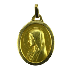 French 18K Yellow Gold Monier Virgin Mary Oval Charm Pendant Medal