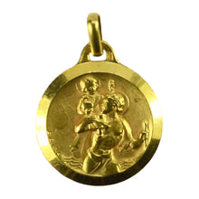 Load image into Gallery viewer, French Augis 18K Yellow Gold St Christopher Charm Pendant Medal