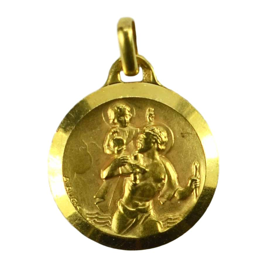 French Augis 18K Yellow Gold St Christopher Charm Pendant Medal