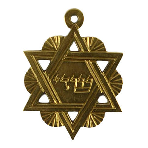 18K Yellow Gold Jewish Star of David Charm Pendant