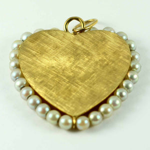 14K Yellow Gold Pearl Large Heart Charm Pendant