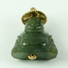 Load image into Gallery viewer, 18K Yellow Gold Green Jadeite Jade Buddha Large Charm Pendant