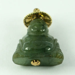 18K Yellow Gold Green Jadeite Jade Buddha Large Charm Pendant