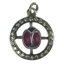 Load image into Gallery viewer, Ladybird Ruby Diamond White Gold Charm Pendant