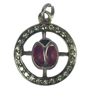 Ladybird Ruby Diamond White Gold Charm Pendant