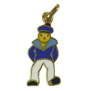 French Art Deco Sailor Gold Enamel Charm