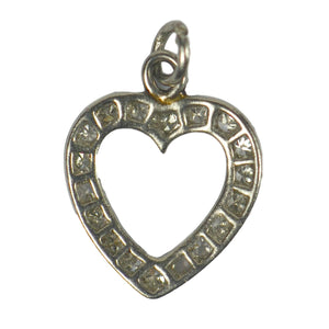 Platinum Diamond Heart Charm Pendant