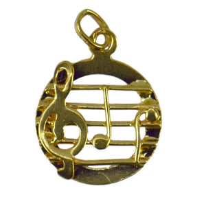 18K Yellow Gold Music Stave So Do Charm Pendant