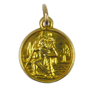 9K Yellow Gold St Christopher Charm Pendant