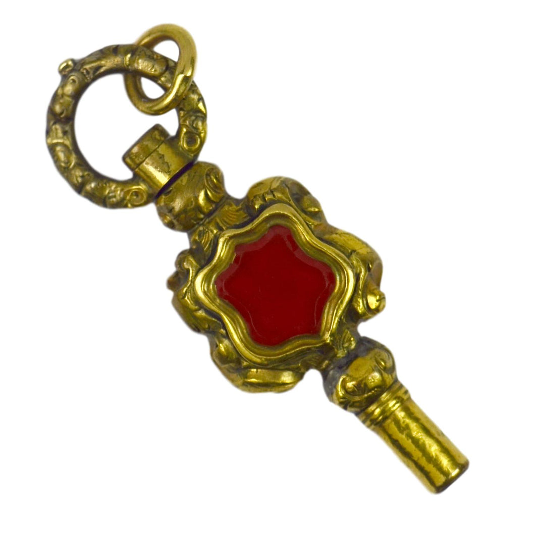 Gold Plated Carnelian Rock Crystal Clock Winder Charm Pendant