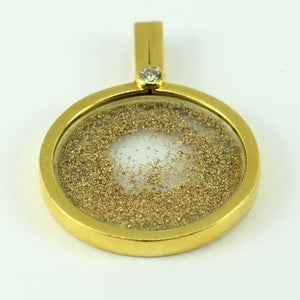 French 18K Yellow Gold Diamond Gold Dust Pendant by Sylvain