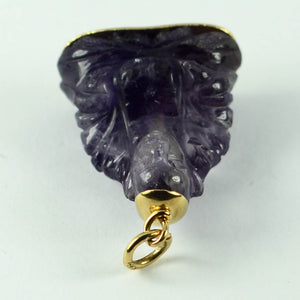 18K Yellow Gold Purple Amethyst Buddha Large Charm Pendant