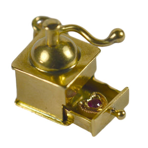 Coffee Grinder Love Heart Gold Ruby Charm Pendant