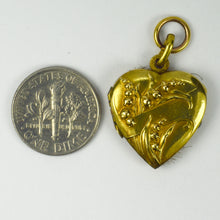 Load image into Gallery viewer, French ORIA Rolled Gold Lily of the Valley Heart Mourning Locket Pendant