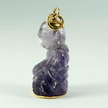 Load image into Gallery viewer, 18K Yellow Gold Purple Amethyst Buddha Large Charm Pendant