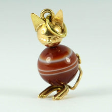 Load image into Gallery viewer, 18K Yellow Gold Banded Agate Cat Charm Pendant