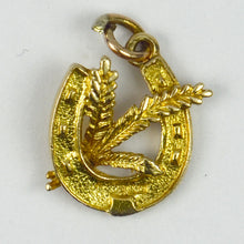 Load image into Gallery viewer, 9K Yellow Gold Horseshoe Wheat Charm Pendant